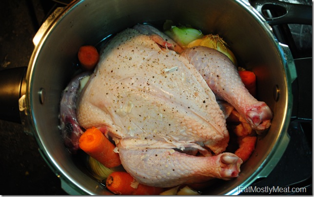 image cooking a whole chicken in a pressure cooker